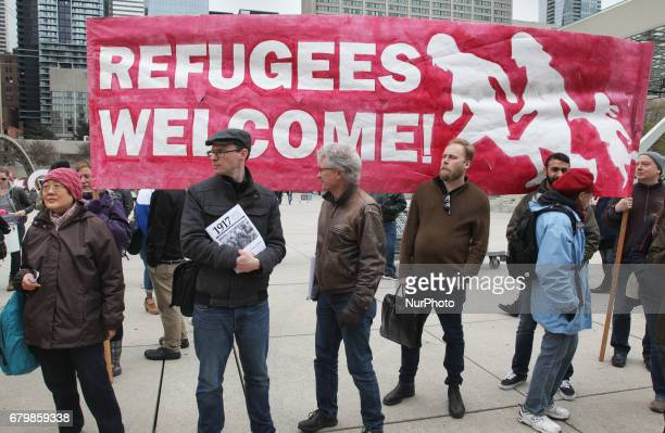 Rally against Islamophobia White Supremacy amp Fascism in downtown Toronto Ontario Canada on May 06 2017 Protesters clashed with antiMuslim and...