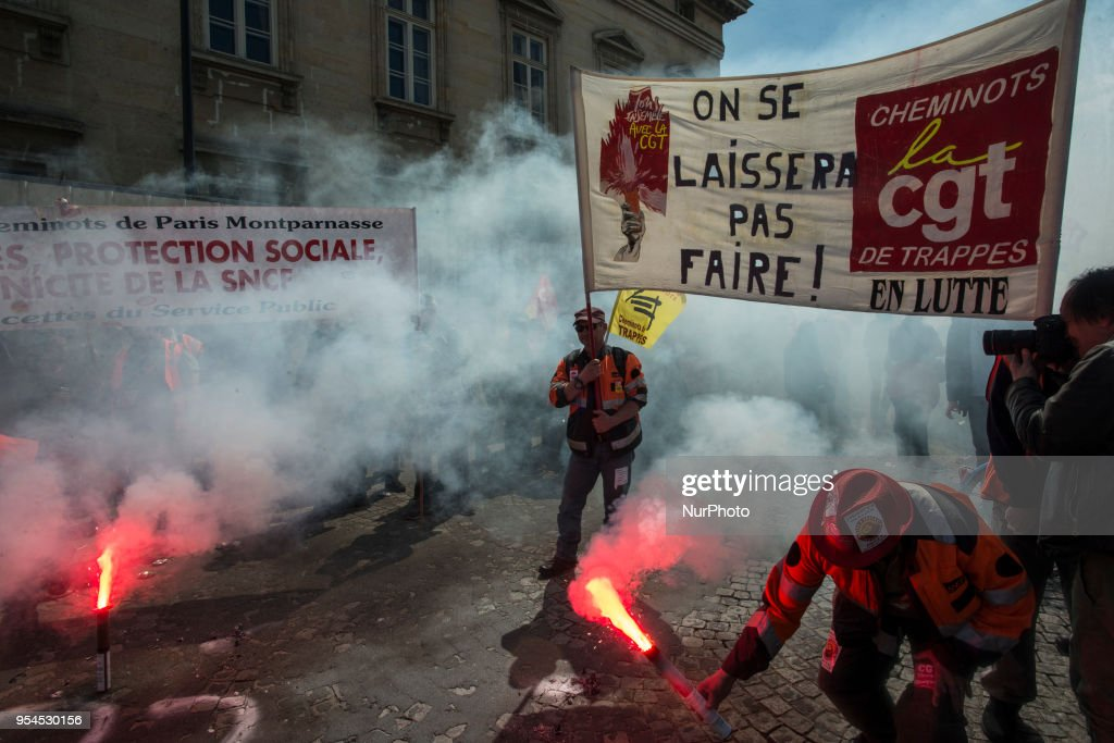 Rally against the reforms in education and the privatisation of the railways. Paris,