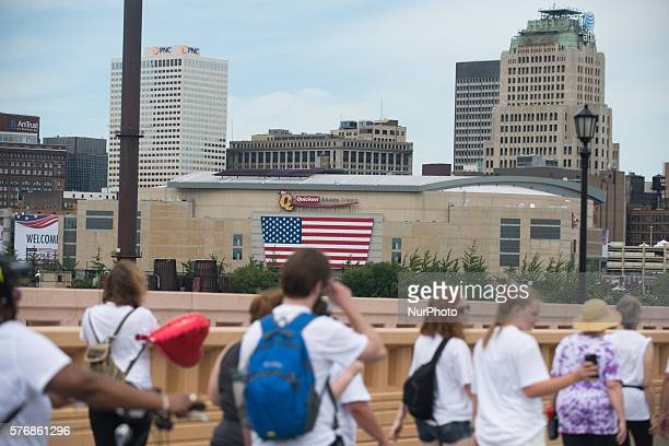 Rally and protests take to the streets around the Quicken Loans Arena in Cleveland on 17th July 2016 the day before the start of the Republican...