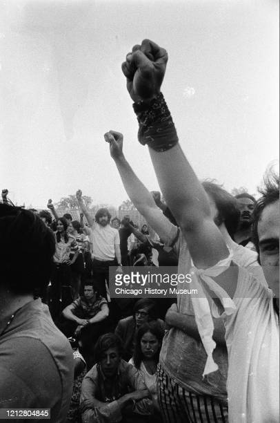 Rally at Dyche Stadium at Northwestern University following the Kent State University shootings and subsequent student strike, Evanston, Illinois,...