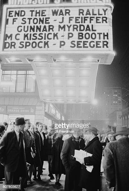 A SANE rally at Madison Square Garden New York City calling for an end to the Vietnam War USA December 1966 The venue is hosting an antiwar event...