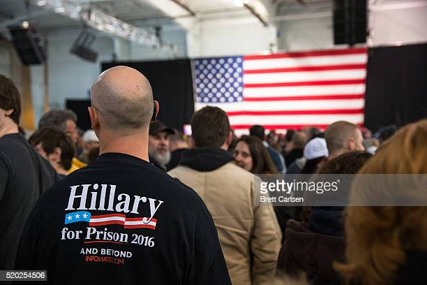 A rally attendee wears a sweatshirt with the slogan Hillary for Prison 2016 before Donald Trump speaks on April 10 2016 in Rochester New York The New...