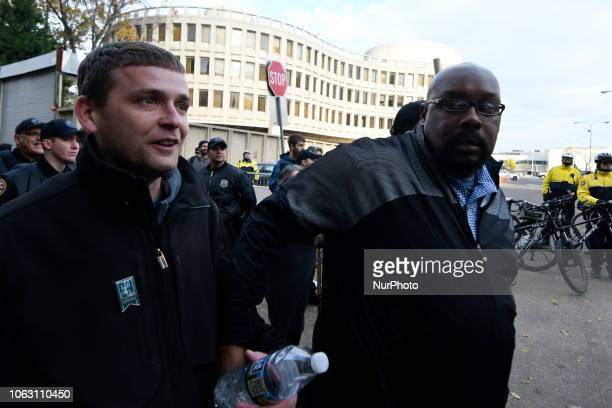 Rally attendees Zach Rehl and Tye Smith fail to hail a cab and Uber after being escorted by police to the Philadelphia Police Dept Head Quarters a...