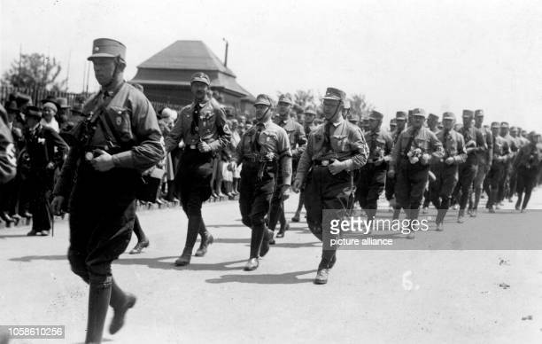 Rally by the SA of the Nazi Party for the Sachsentag in Chemnitz Germany June 1931 Photo Berliner Archive