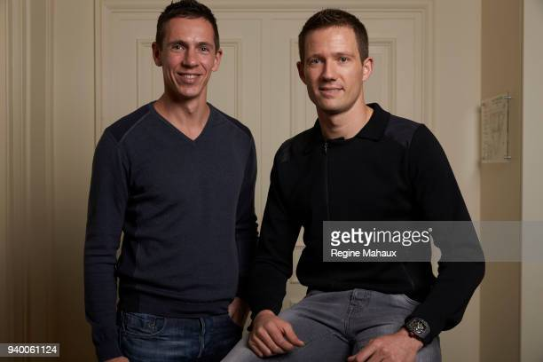 Rally drivers Sebastien Ogier and Julien Ingrassia are photographed for Paris Match on December 2017 in Paris France