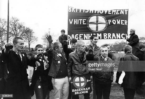 A rally gathers of the British Movement a fascist organisation in Notting Hill London