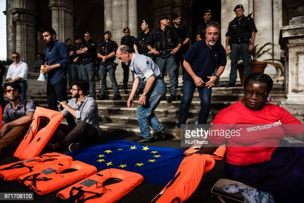 A rally in Rome Italy on June 11 2018 against Italian government decision to block ports to a German NGO ship with 629 migrants on board Matteo...
