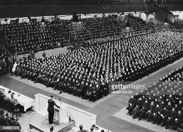 Rally in the Berlin Sports Palace Adolf Hitler during his speech left next to the lectern the Minister of Public Enlightenment and Propaganda Joseph...