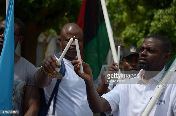 A rally in the center of Athens organized from Biafrans that live in Greece to commemorate the victims of Biafra Wars or Nyerian Civil War and asking...