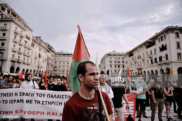 Rally in Thessaloniki Greece in support of the Palestinian people on July 17 2014