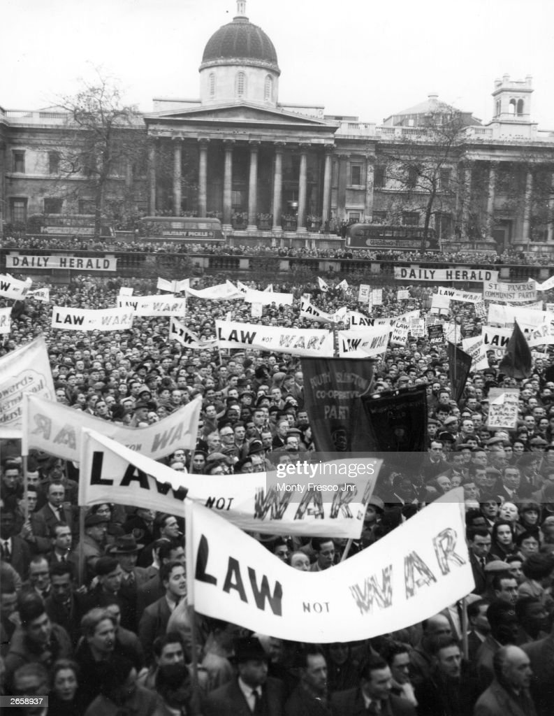A rally in Trafalgar Square, London, in protest against the British government's action in the Suez Crisis.