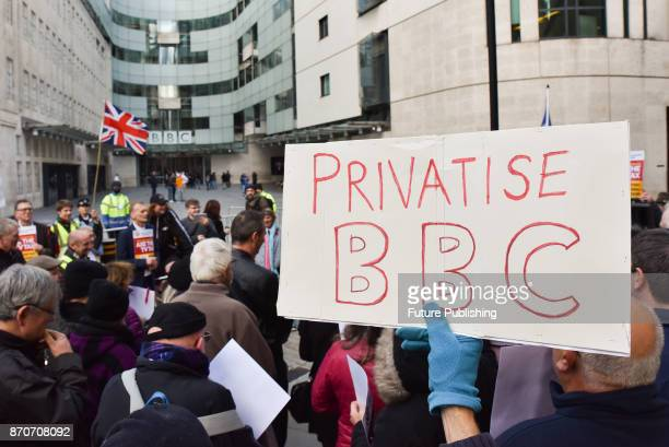 Rally is held outside BBC broadcasting house in London against 'BBC bias' organised by The People's Charter Foundation, who describe themselves as...