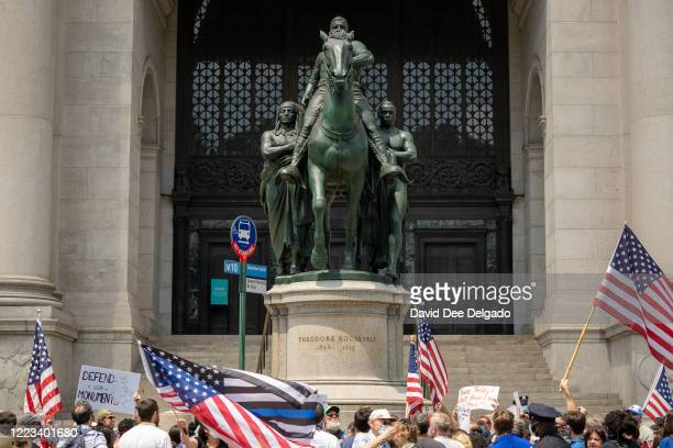 Rally lead by the New York Young Republican Club calls for the Equestrian Statue of Theodore Roosevelt to remain in place on June 28, 2020 in New...