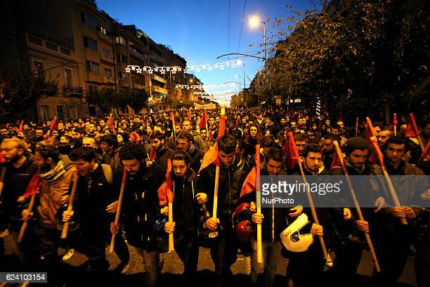 Rally marking the 43rd anniversary of a student uprising in 1973 against the military dictatorship Athens Greece November 17 2016 Greece is...