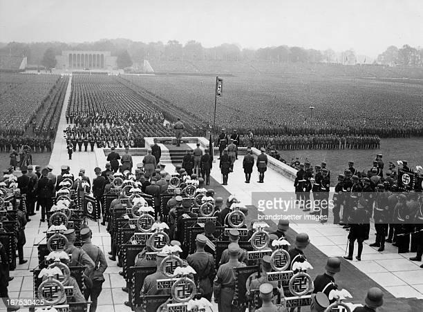 >Rally of Labour< Adolf Hitler taking a speech at the Luitpoldarena Nuremberg Germany Photograph September 12th 1937 >Reichsparteitag der Arbeit<...