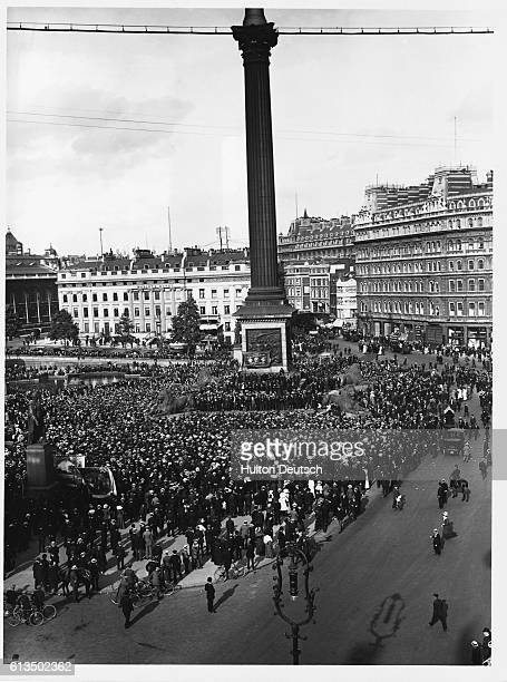 A rally of striking dockers In London's Trafalgar Square