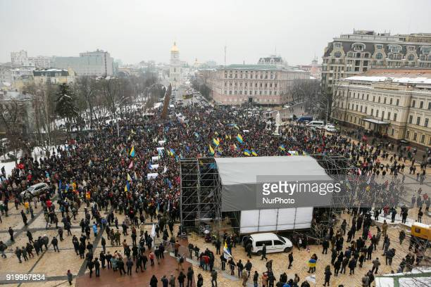 A rally of supporters of the former Georgian president and former Odessa governor Mikhail Saakashvili in Kiev Ukraine February 18 2018 Protesters and...