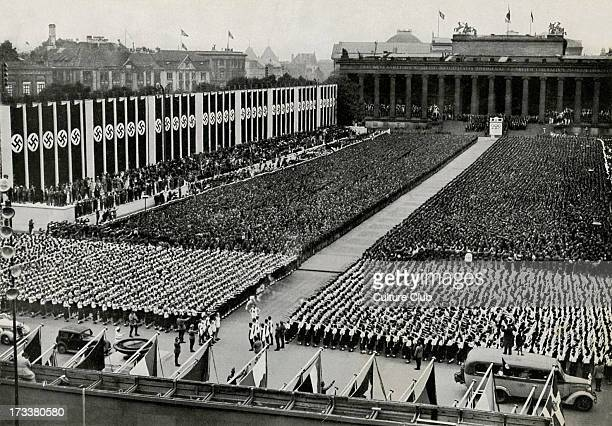Rally of the German youth on the Lustgarten 1st August as part of the opening ceremony for the 1936 Berlin Olympics Standing on what is now...