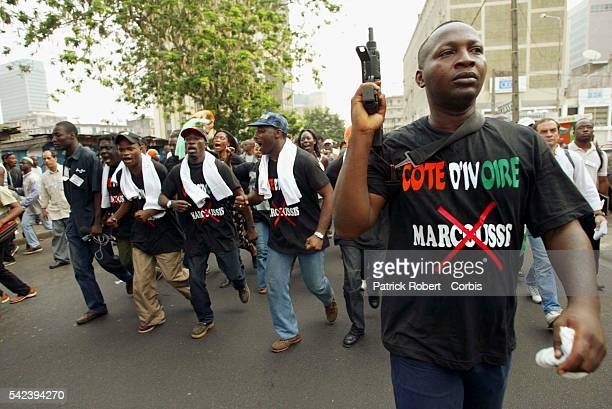 Rally organised by the Young Patriot Movement in support of President Gbagbo against the Marcoussi agreement Charles Gi Ble Goude the charismatic and...