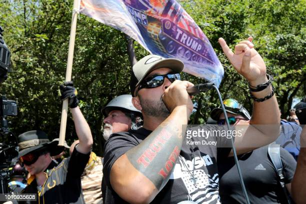 Rally organizer Joey Gibson and rightwing demonstrators hold a rally supporting gun rights and free speech on August 4 2018 in Portland Oregon The...