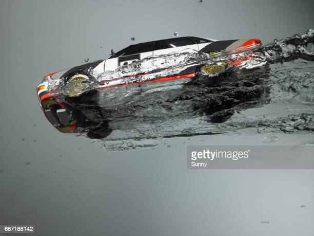 Rally Race car Flying through water