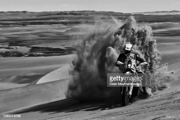 Rally Raid Husqvarna Racing No. 129 Motorbike ridden by Paul Spierings of The Netherlands competes in the sand, desert and dunes during Stage Nine of...