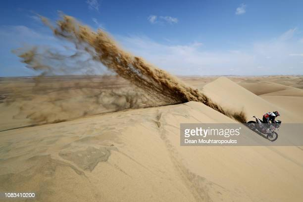 Rally Raid Husqvarna Racing No. 26 Motorbike ridden by Carlos Gracida Garza of Mexico competes in the sand, desert and dunes during Stage Nine of the...
