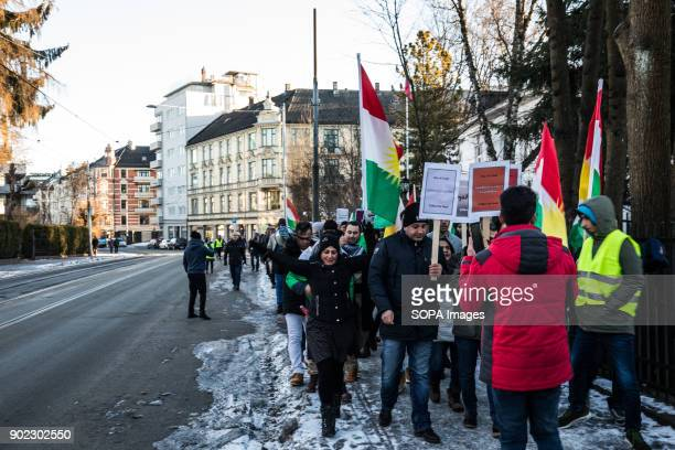 A rally seen outside the Iranian Embassy by the members of the Iranian Kurdish opposition calling on the Norwegian Government to break its silence...