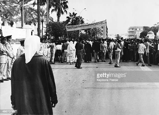 A rally supporting the measures and the reforms of the new Libyan revolutionary government in Tripoli Libya on December 1 1969