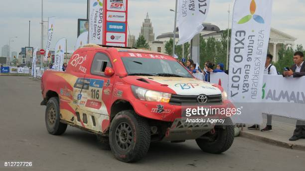 A rally vehicle is being displayed during the start off ceremony of Silk Way Rally at Khan Shatyr Entertainment Center in Astana Kazakhstan on July...