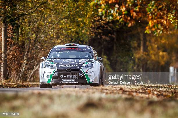 Rally winners Cherain and Leyh in the Citroen DS3 WRC in action during the 42e Rallye Du Condroz-Huy in Huy, Belgium on November 8, 2015.