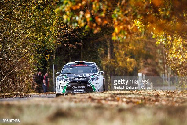 Rally winners Cherain and Leyh in the Citroen DS3 WRC in action during the 42e Rallye Du CondrozHuy in Huy Belgium on November 8 2015