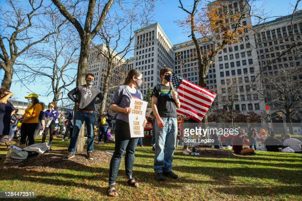 """Rallygoers deliver the """"Count Every Vote"""" message in the wake of the presidential election results on November 7, 2020 in Detroit, Michigan."""