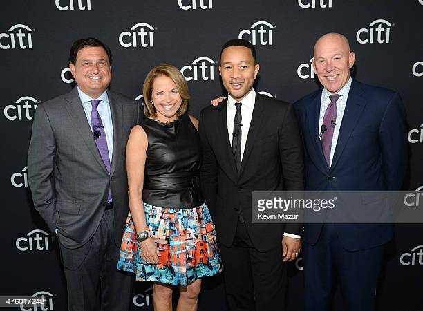 Ralph Andretta Head of North America Branded Cards Citigroup Katie Couric John Legend and Jud Linville CEO Citi Card during Backstage with Citi John...