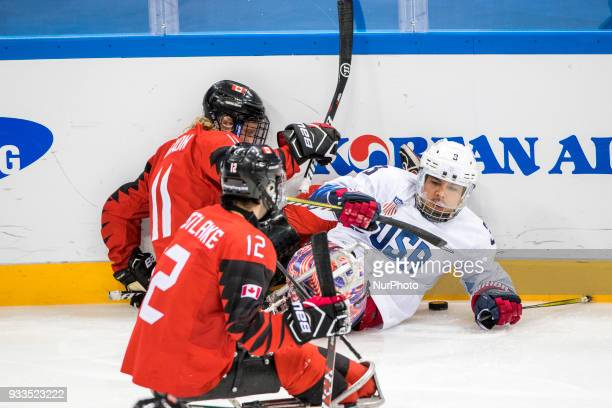 Ralph DEQUEBEC Adam DIXON and Greg WESTLAKE during The Ice Hockey gold medal game between Canada and United States during day nine of the PyeongChang...
