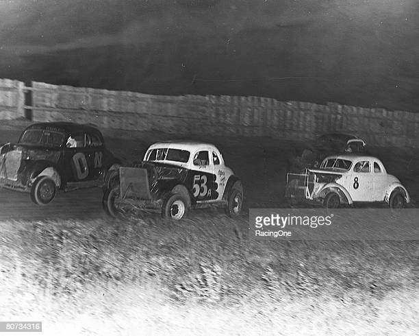 Ralph Earnhardt in his No 8 modified coupe at North Wilkesboro North Carolina in the 1950s when the track was still dirt