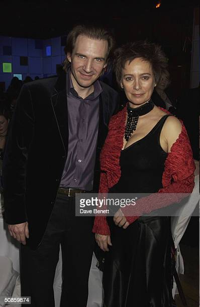 Ralph Fiennes and Francesca Annis attend the 2004 Whitbread Book Awards at The Brewery on January 28 2004 in London