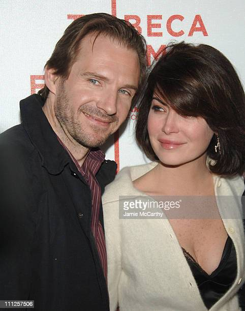 Ralph Fiennes and Lara Flynn Boyle during 5th Annual Tribeca Film Festival 'Land Of The Blind' Premiere Red Carpet at Loews Lincoln Center and The...