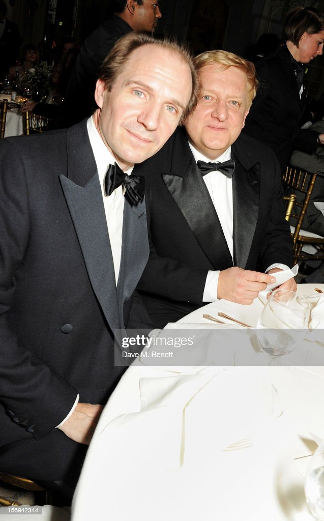 Ralph Fiennes (L) and Simon Russell Beale attend a drinks reception at the 58th London Evening Standard Theatre Awards in association with Burberry at The Savoy Hotel on November 25, 2012 in London, England.