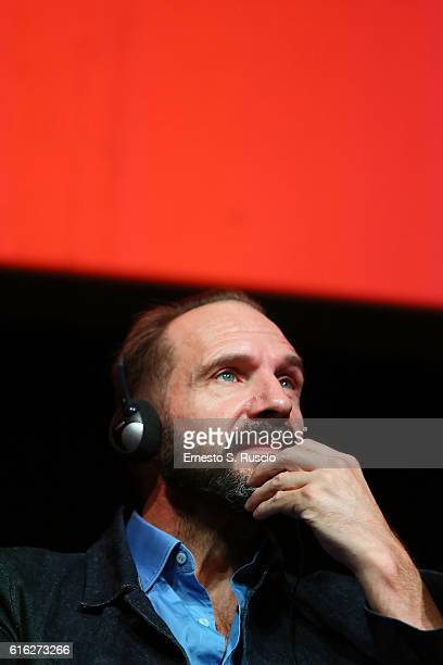 Ralph Fiennes attends a press conference for 'The English Patient Il Paziente Inglese' during the 11th Rome Film Festival at Auditorium Parco Della...