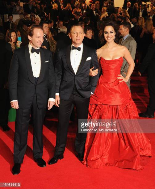 Ralph Fiennes Daniel Craig and Berenice Marlohe attend the Royal World Premiere of 'Skyfall' at the Royal Albert Hall on October 23 2012 in London...