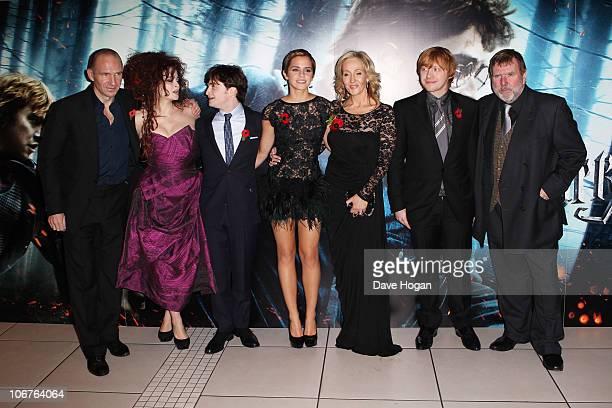 Ralph Fiennes Helena Bonham Carter Daniel Radcliffe Emma Watson J K Rowling Rupert Grint and Timothy Spall attend the World Premiere of Harry Potter...