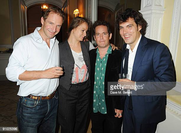 Ralph Fiennes Samantha Morton Tom Hollander and Joe Wright attend the after party following the screening of 'The Soloist' hosted by Moet in aid of...