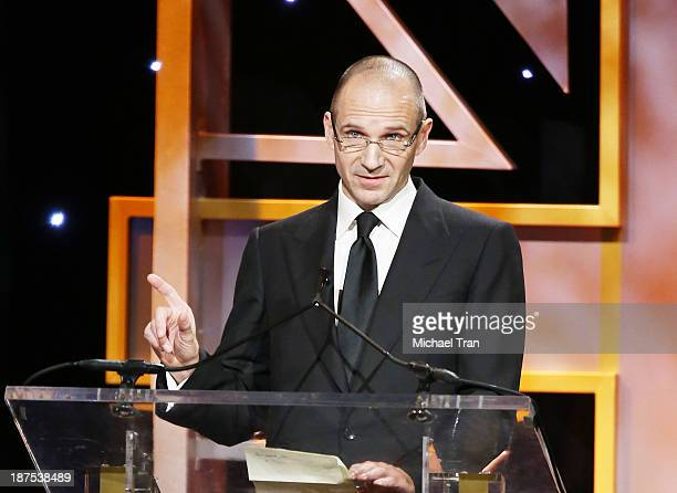 Ralph Fiennes speaks onstage during the BAFTA Los Angeles Britannia Awards held at The Beverly Hilton Hotel on November 9 2013 in Beverly Hills...