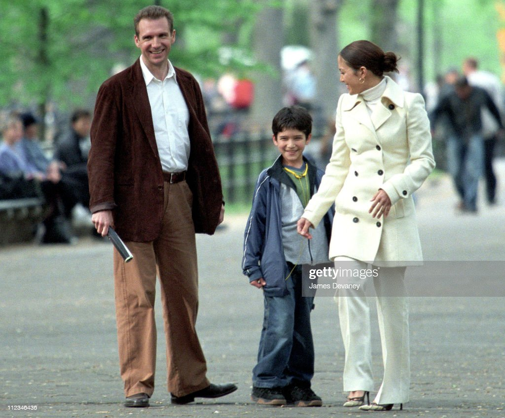 Ralph Fiennes, Tyler Garcia & Jennifer Lopez during Jennifer Lopez on Location for 'Maid in Manhattan' at Streets of New York City in New York City, New York, United States.