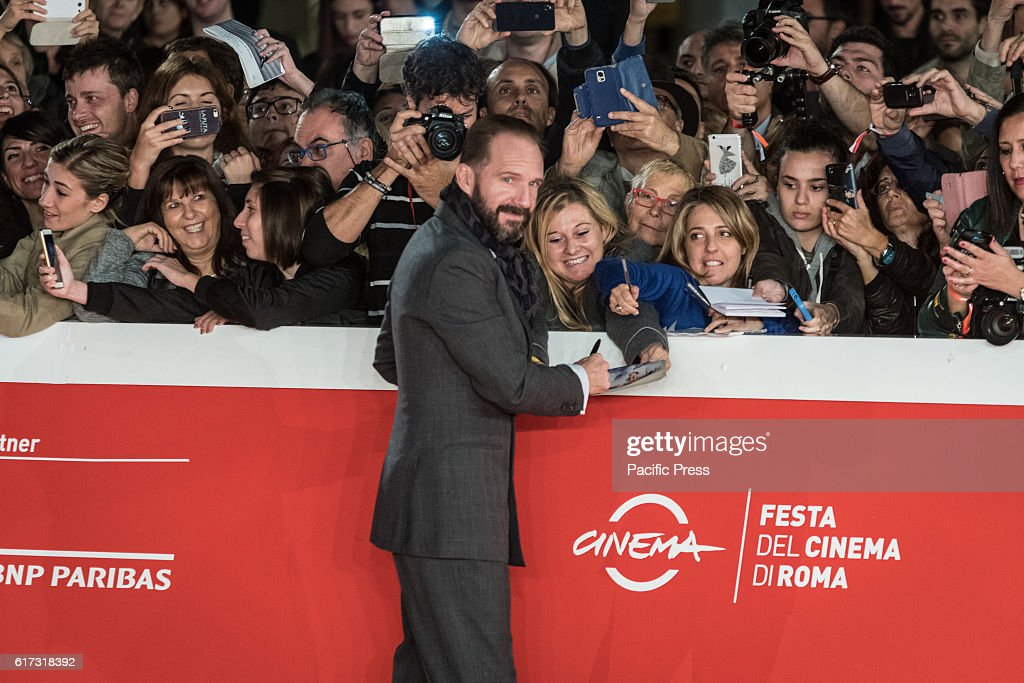 Ralph Fiennes walk a red carpet for 'The English Patient - Il Paziente Inglese' during the 11th Rome Film Festival at Auditorium Parco Della Musica.
