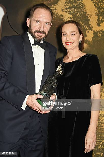 Ralph Fiennes, winner of the Best Actor award, and Dame Kristin Scott Thomas pose onstage at the 62nd London Evening Standard Theatre Awards,...
