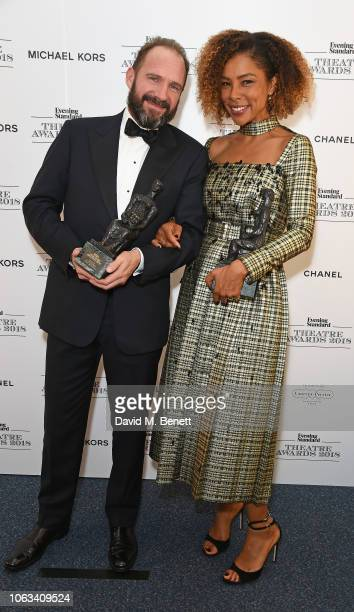 Ralph Fiennes winner of the Best Actor in partnership with Ambassado's Theatre Group award for 'Anthony and Cleopatra' and Sophie Okonedo winner of...