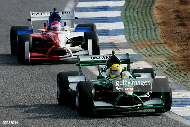 Ralph Firman of Ireland in action during the A1 Grand Prix of Nations Feature race at the Circuito Estoril on October 23 2005 in Estoril Portugal