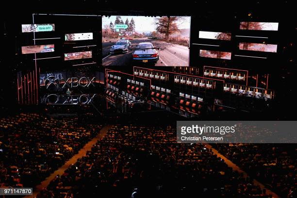 Ralph Fulton, Creative Director at Playground Games, introduces 'Forza Horizon 4' during the Microsoft xBox E3 briefing at the Microsoft Theater on...